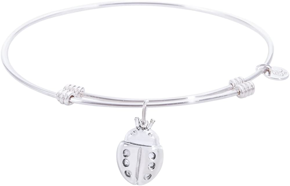 Rembrandt Ladybug Charm Expandable Wire 'Tranquil' Bangle, Sterling Silver