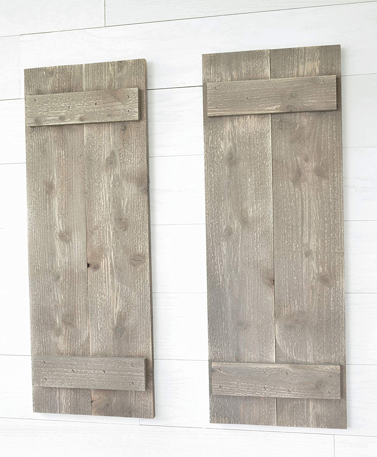 CELYCASY Rustic Barnwood Farmhouse Style Wood Shutters Set of Two 30