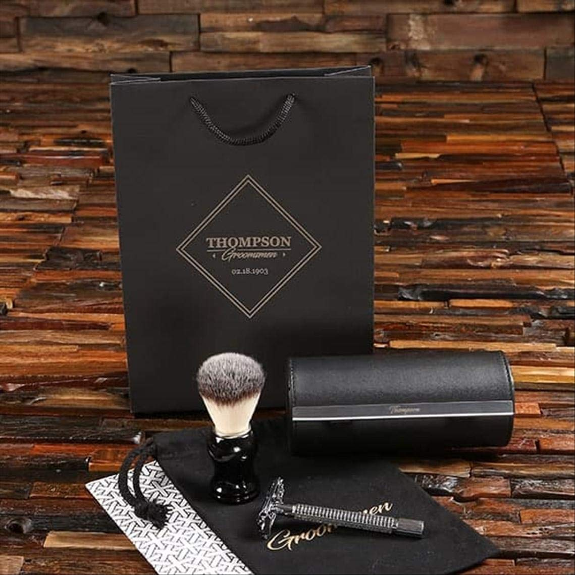 Mad men travel shaving set - classic stainless Steel Shaver in Faux Leather Travel case