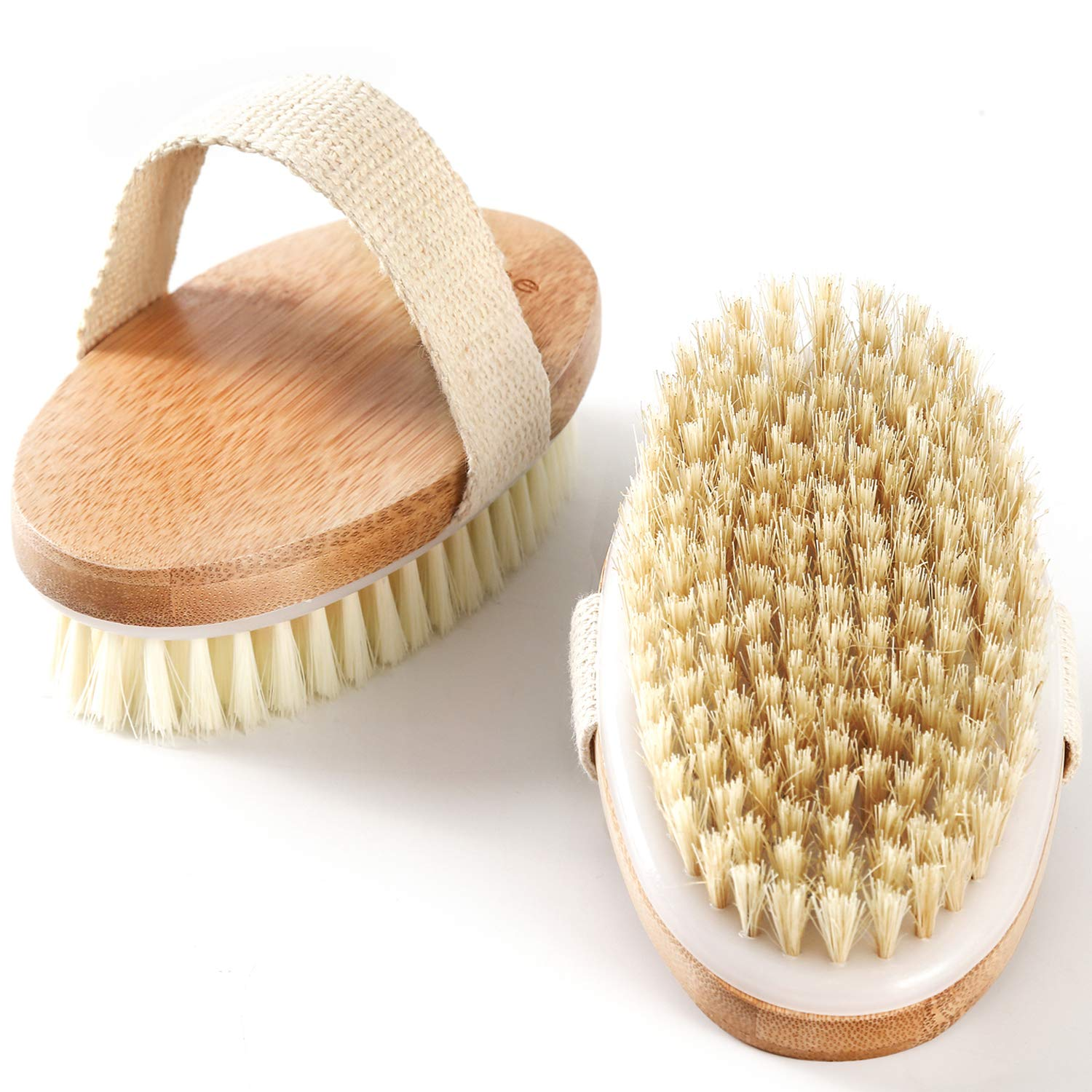 Dry Body Shower Brush, 2 Pack Back Exfoliating Scrubber with Soft and Stiff Bristles, Wet and Dry Bath Brush for Cellulite and Lymphatic, Suitable for Sensitive and All Kinds of Skin