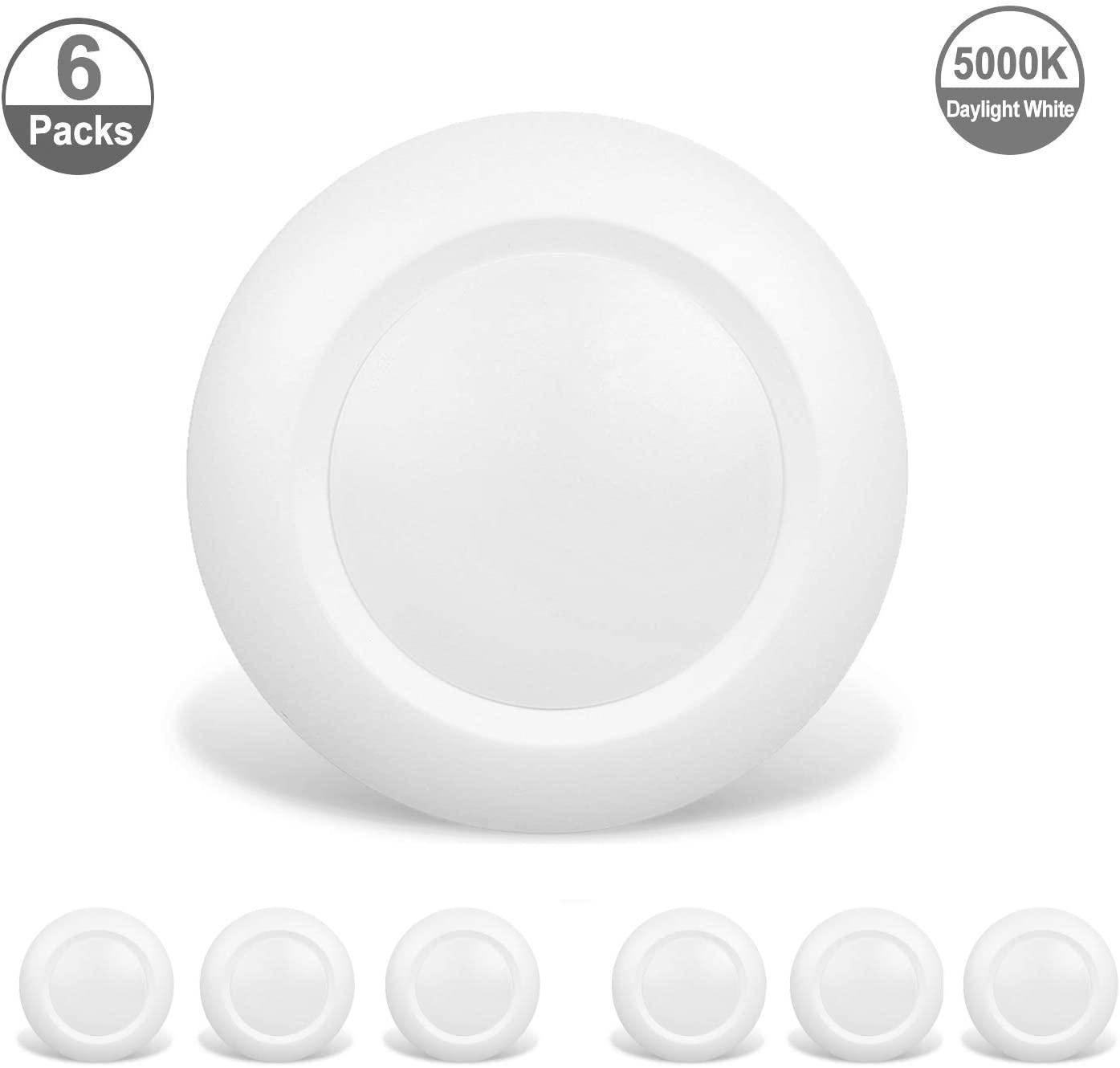 JULLISON 6 Packs 4 inch LED Low Profile Recessed & Surface Mount Disk Light, Round, 10W, 600 Lumens, 5000K Day Light White, CRI80, DOB Design, Dimmable, Energy Star, ETL Listed, White