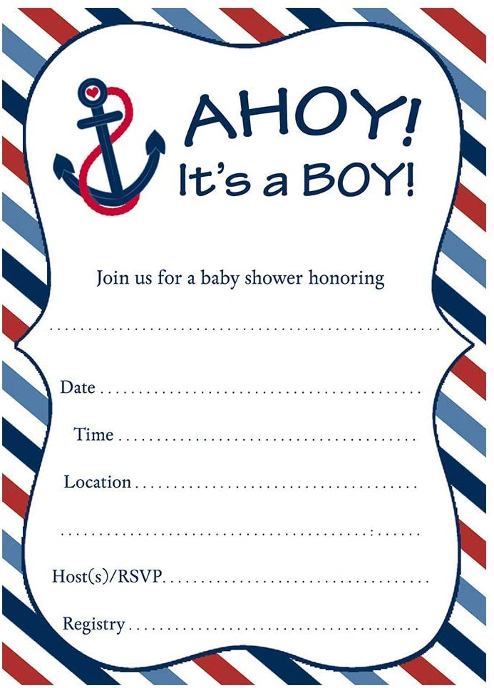 Nautical Baby Shower Invitations Anchors Away Stripes Boys Ahoy It's A Boy Fill in The Blank Invites Navy Blue Red Anchor Sailboat Sprinkle DIY Customize (24 Count)