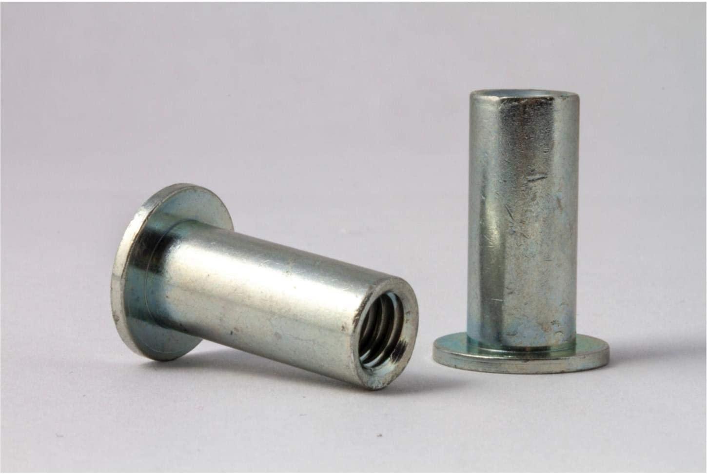 AESM8-5.0, RIVETNUT, M8x1.25 (3.00-5.00mm GR) RND Body, Flat HD, Steel, CAD CLR (5 PK)
