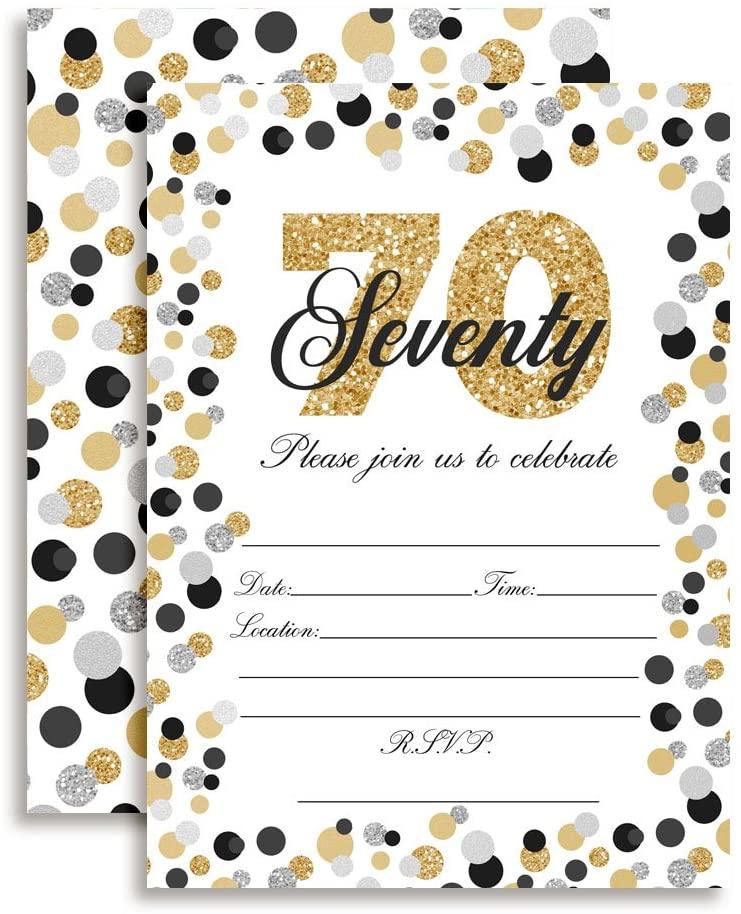 Confetti Polka Dot 70th Birthday Party Invitations, 20 5