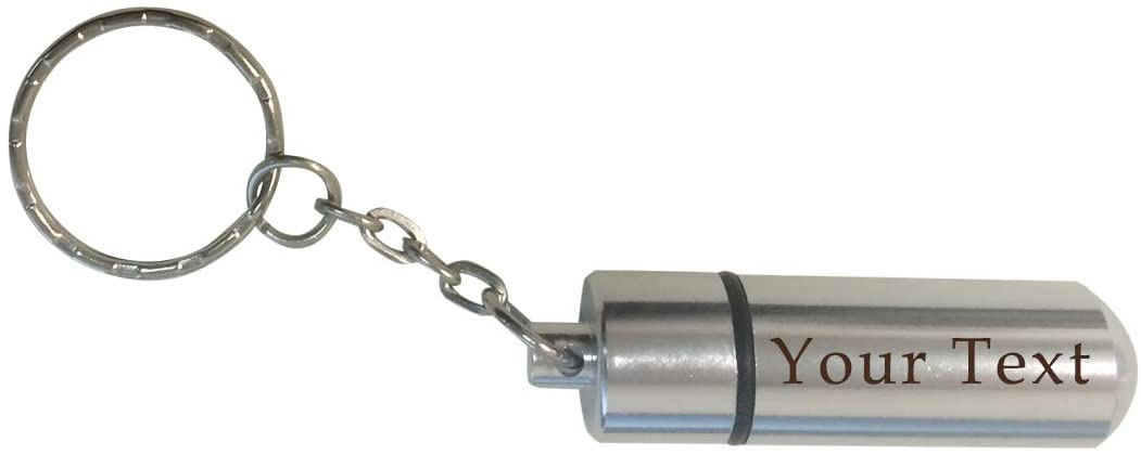 Custom Personalized 3D Laser Engraved Pill Holder Key Chain with Inner Compartment for Emergencies, Safety, Relief, Travel