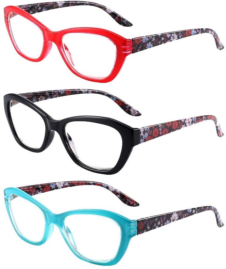 Blue Light Blocking Reading Glasses +2.5 for Women Men, Fashion Computer Reader Glasses UV Protection Anti Glare Anti Eye Eyestrain(3 Pairs)