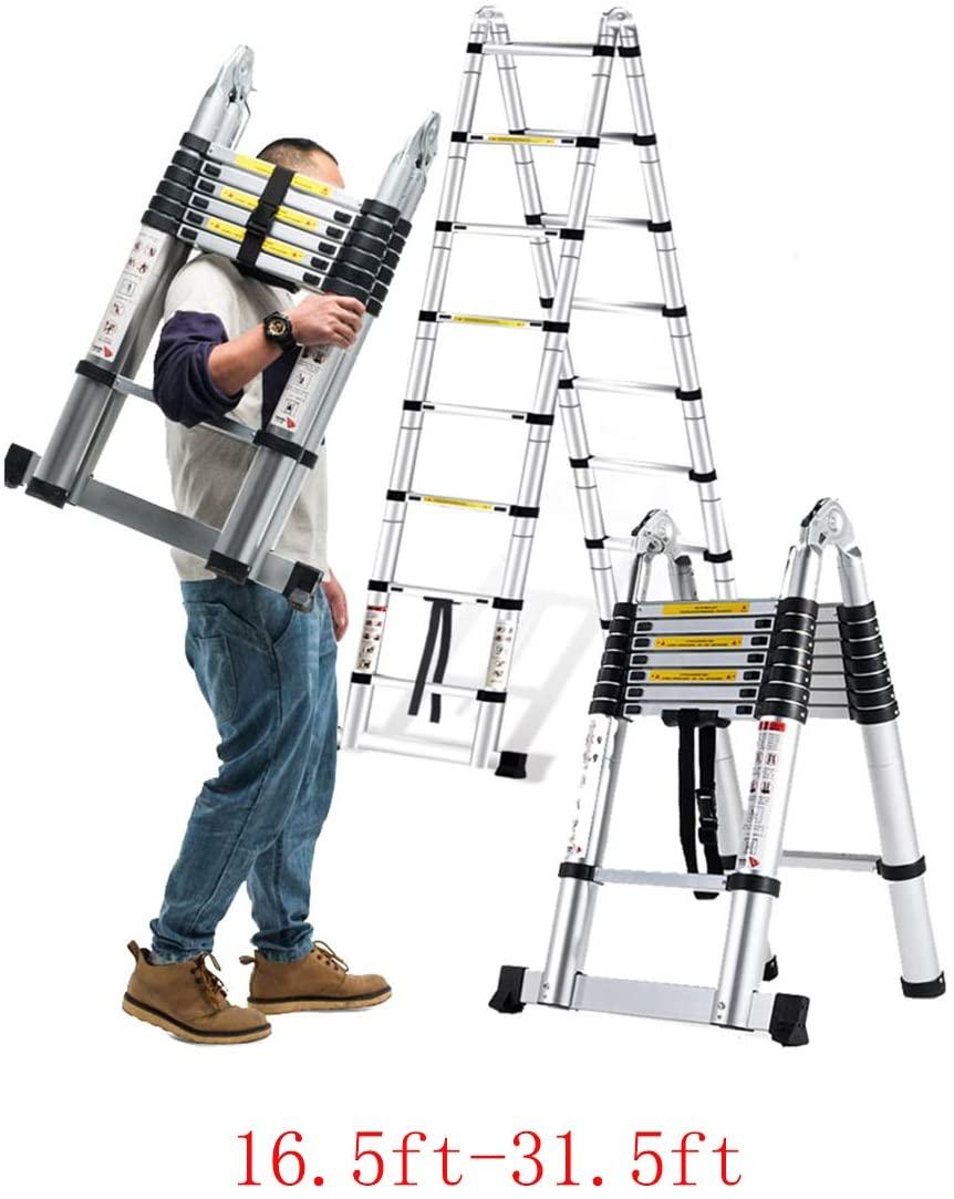 Metal Heavy Duty Telescopic Ladder 16ft-31.5ft Professional Aluminum Folding Ladder Multi-Purpose Portable Ladder Home (Ladder 15.7ft+15.7ft)