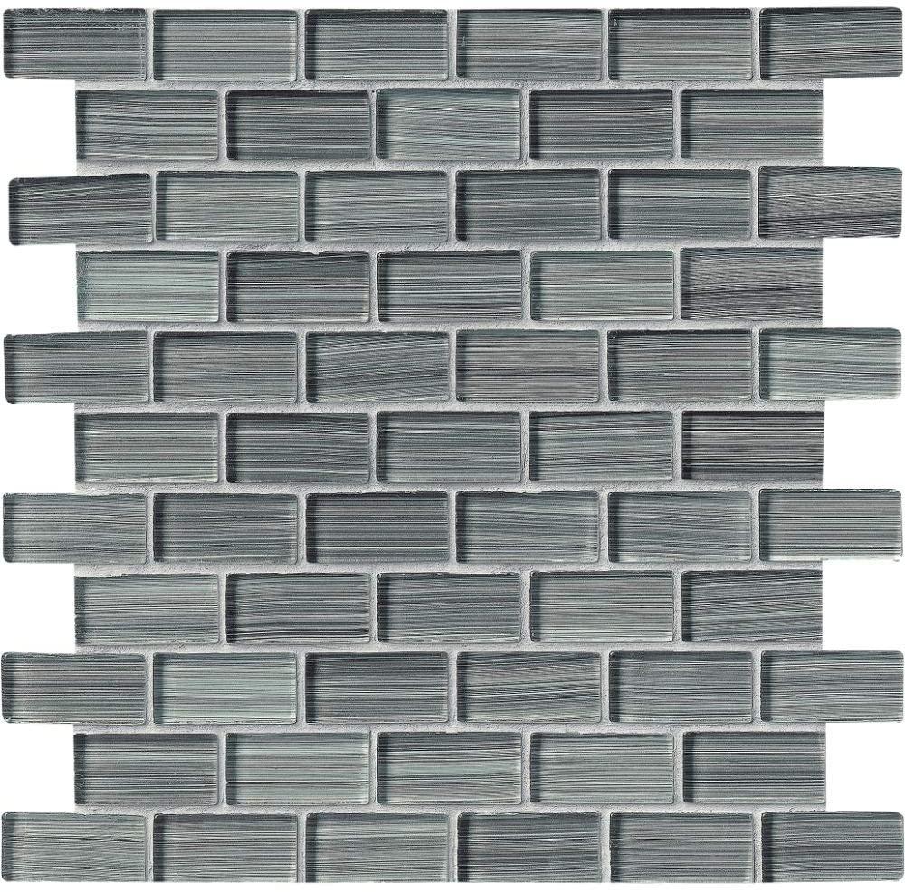 Winter Grey Brick 1x2 Brick Glass Mosaic, 12SFT/case, (12Pcs)