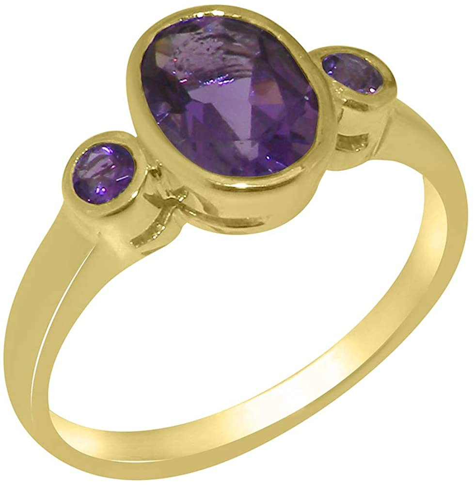 Solid 10k Yellow Gold Natural Amethyst Womens Trilogy Ring - Sizes 4 to 12 Available