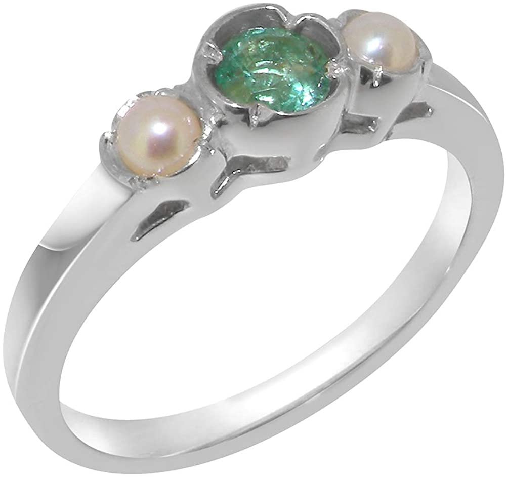 Solid 18k White Gold Natural Emerald & Cultured Pearl Womens Trilogy Ring - Sizes 4 to 12 Available