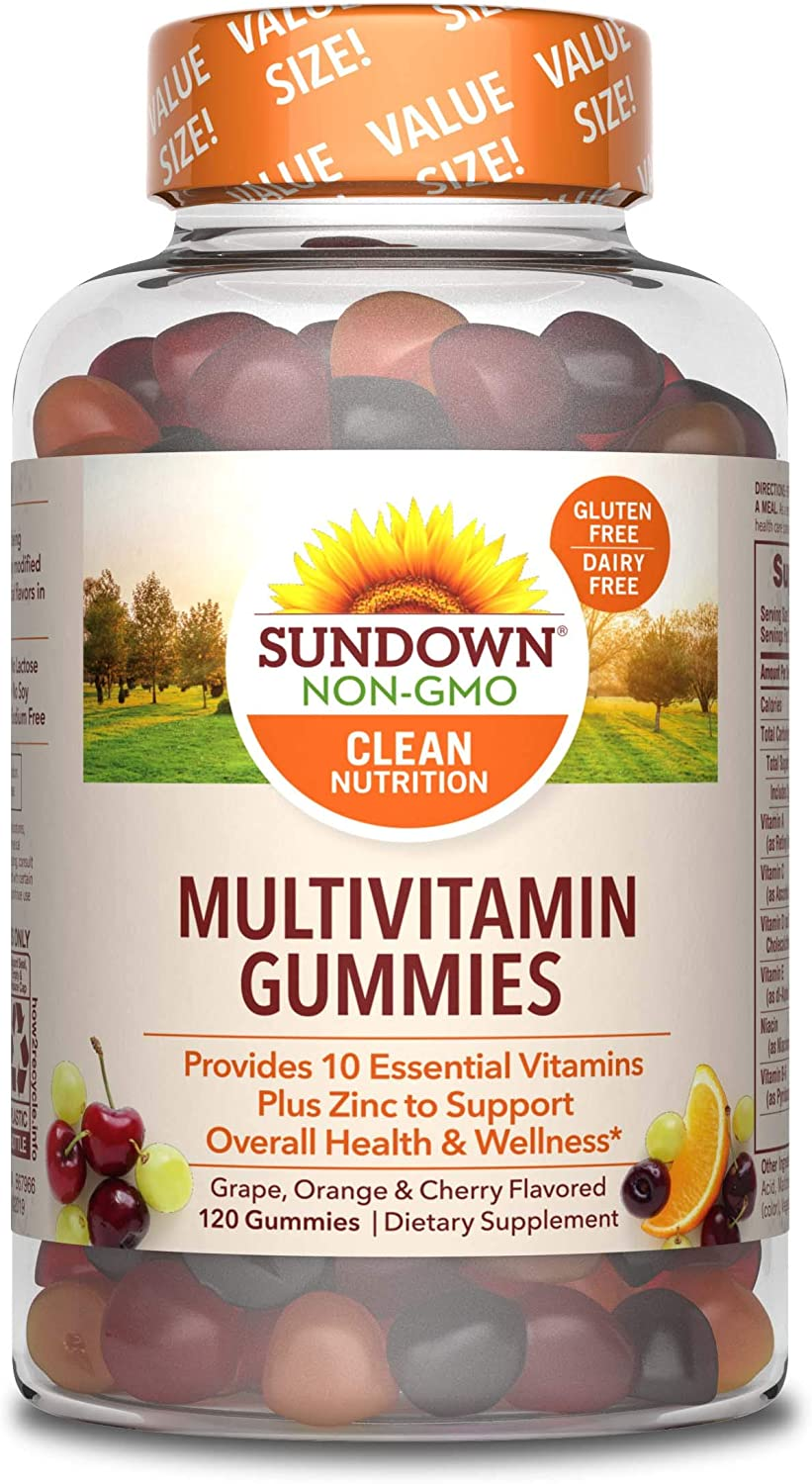 Adult Multivitamin Gummies by Sundown with Vitamin D, C and Zinc for Immune Support, Non-GMOˆ, Free of Gluten, Dairy, Artificial Flavors, 120 Gummies