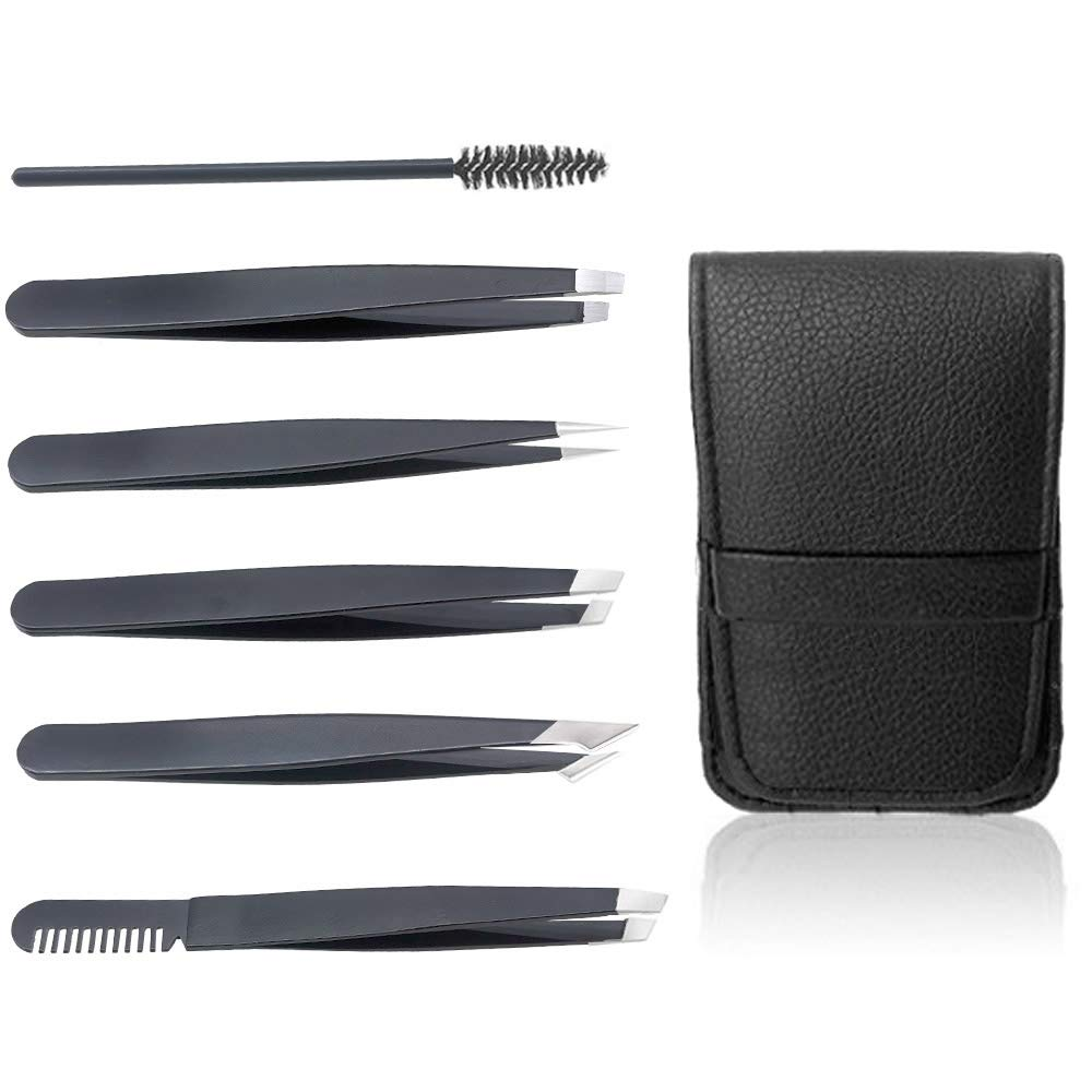6 PCS Eyebrow Tweezers Set, Professional Stainless Steel Slant Tip and Pointed Tweezer Kit for Women Men, Precision for Ingrown Hair, Splinter, Blackhead and Facial Hair Removal
