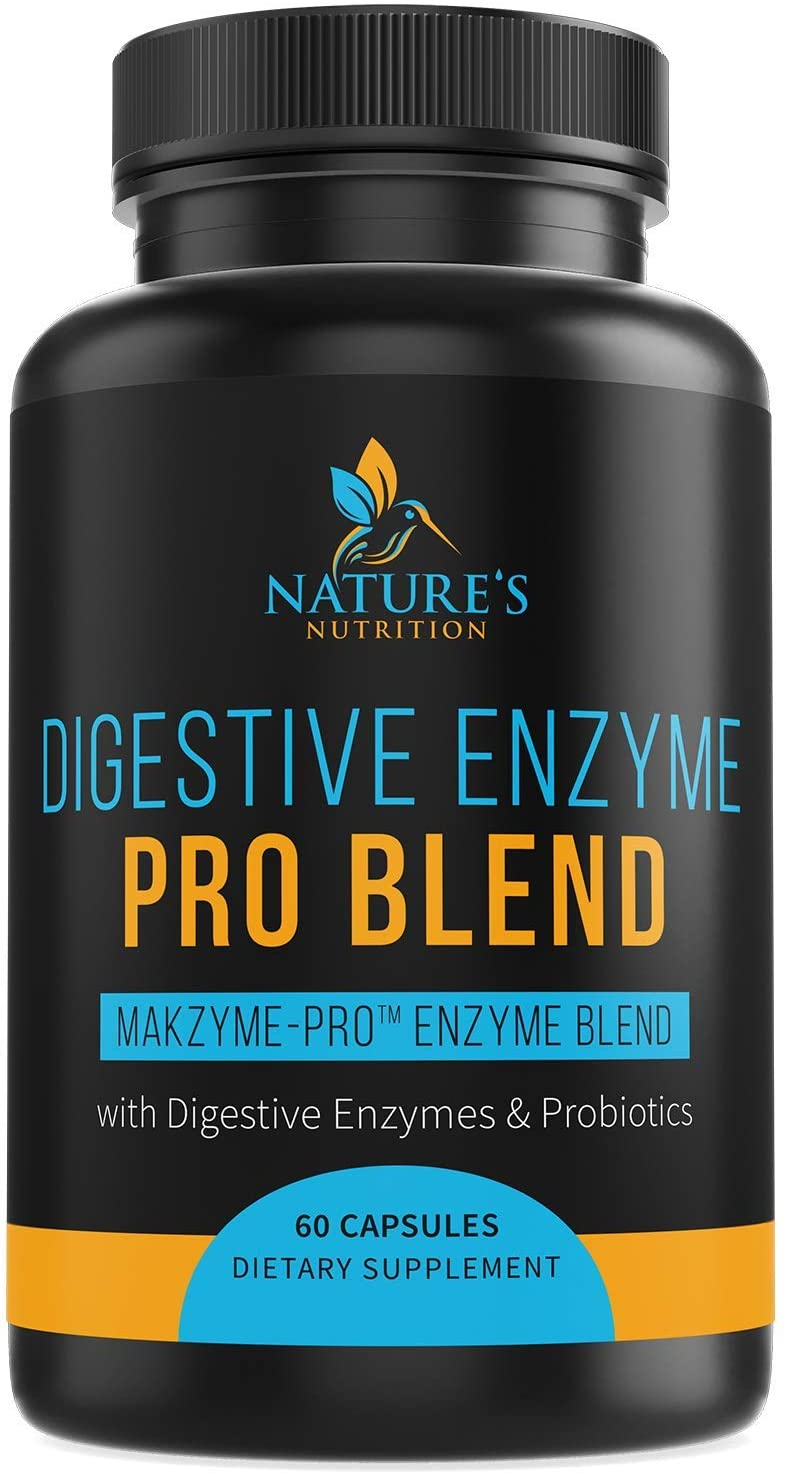 Digestive Enzymes Plus Prebiotics & Probiotics 1000mg - Natural Pancreatic Supplement to Support Healthy Digestion - Gas, Constipation & Bloating Support by Nature's Nutrition - 60 Capsules