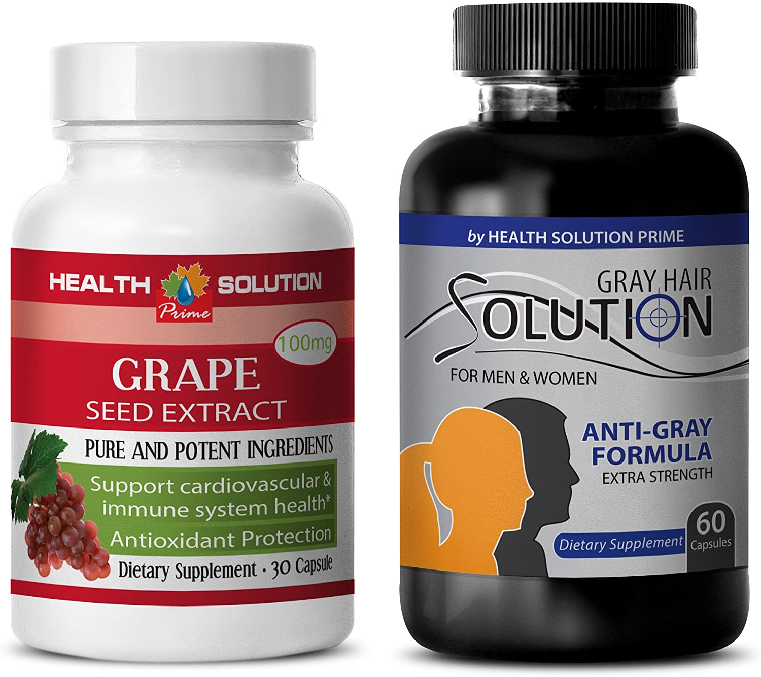 Anti-Aging Hair - Grape Seed Extract – Grey Hair Solution - zinc - 2 Bottles Combo (30 Capsules + 60 Capsules)