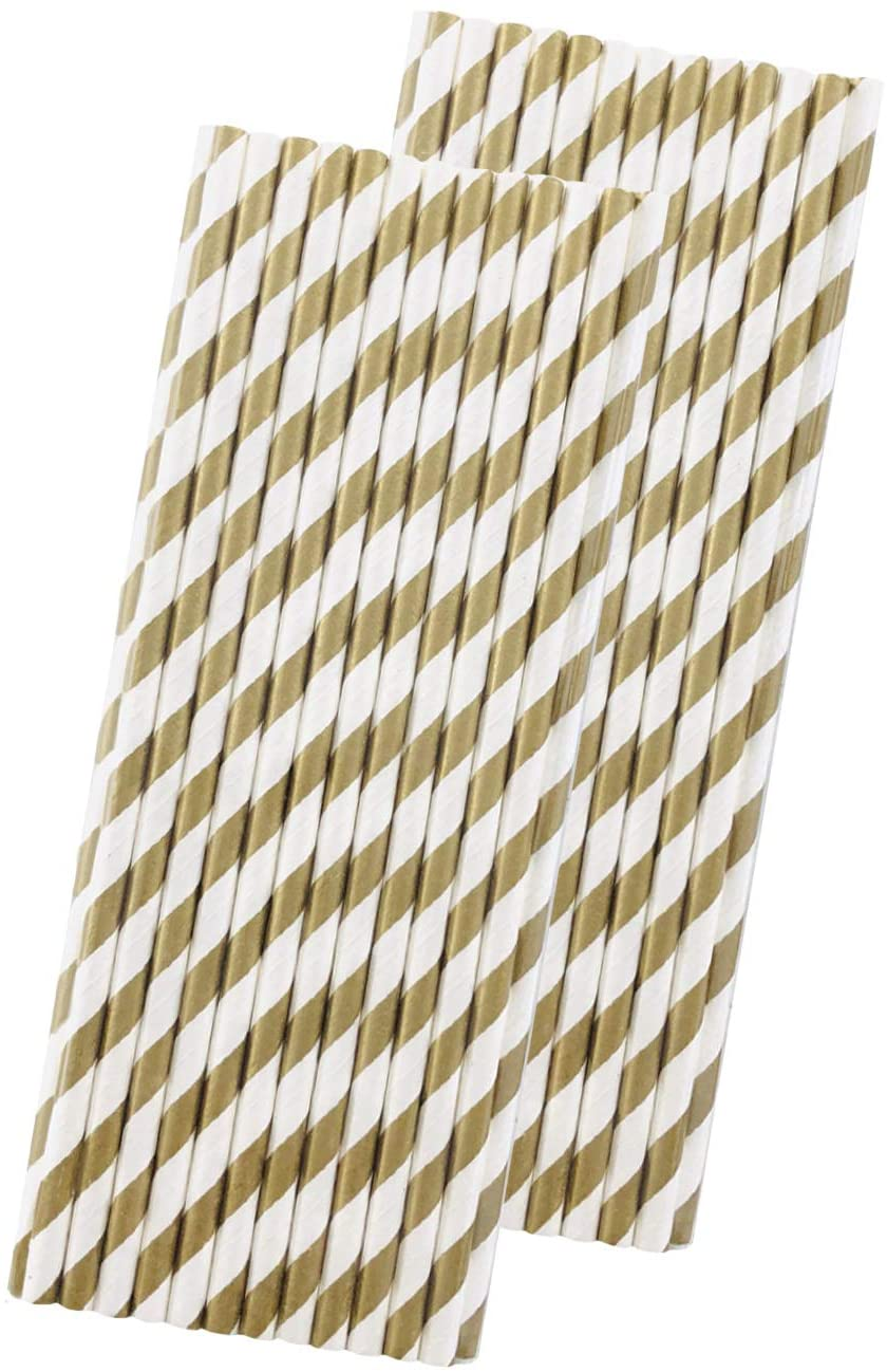 Striped Paper Straws - Gold White - 7.75 Inches - 50 Pack - Outside the Box Papers Brand