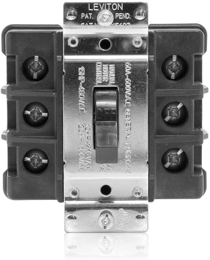 Leviton MS603-FW 60 Amp, 600 Volt, Toggle Three-Pole AC Motor Starter, Suitable as Motor Disconnect, Industrial Grade, Non-Grounding, Front Wired, Black