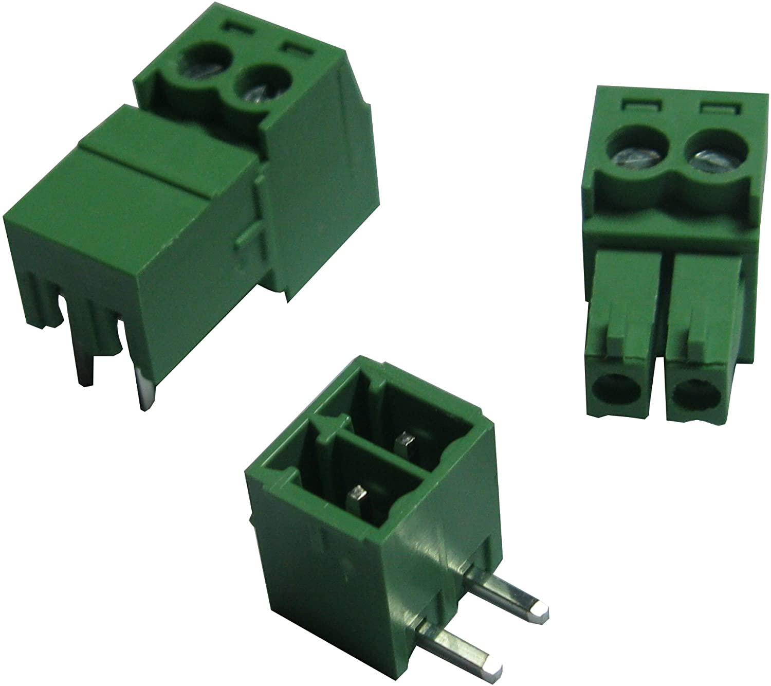 10 Pcs Pitch 3.5mm Angle 2way/pin Screw Terminal Block Connector w/Angle Pin Green Color Pluggable Type Skywalking