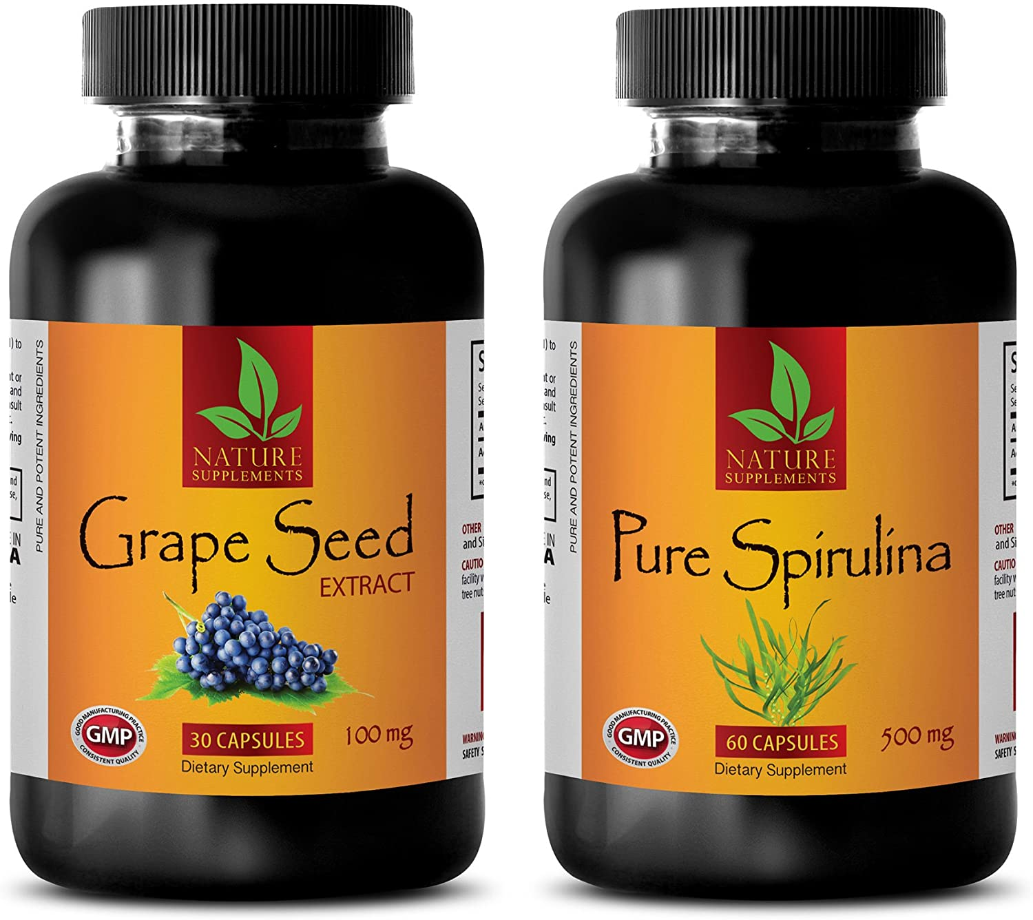 Blood Pressure Factors - Grape Seed Extract - SPIRULINA - Combo - Grape Seed Capsules - (2 Bottles Combo)