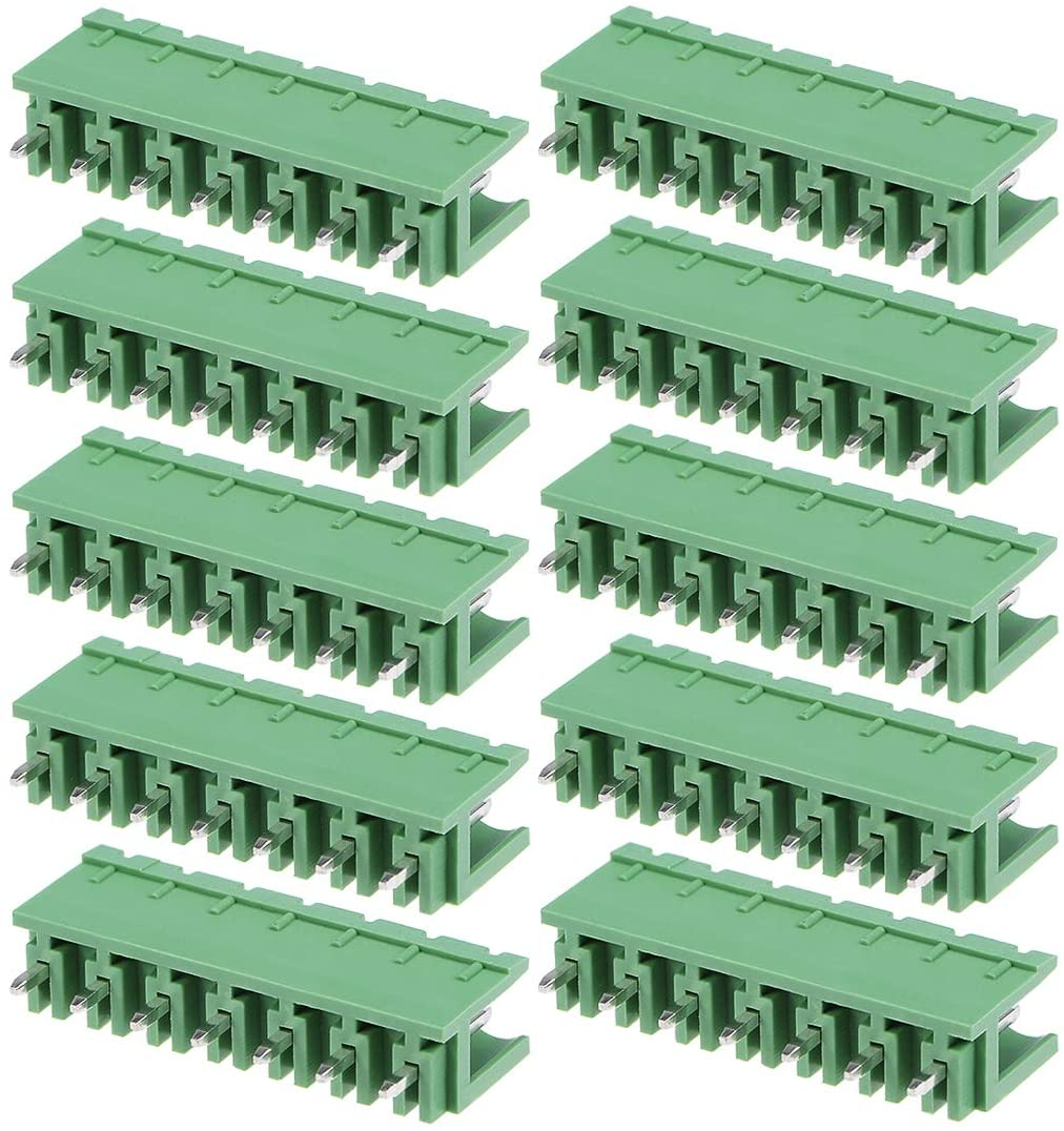 uxcell 10Pcs AC300V 15A 5.08mm Pitch 7P Flat Angle Needle Seat Insert-In PCB Terminal Block Connector
