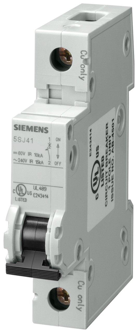 Siemens 5SJ41188HG40 Miniature Circuit Breaker, UL 489 Rated, 1 Pole Breaker, 15 Ampere Maximum, Tripping Characteristic D, DIN Rail Mounted, Type HSJ, 240 VAC, 60 VDC
