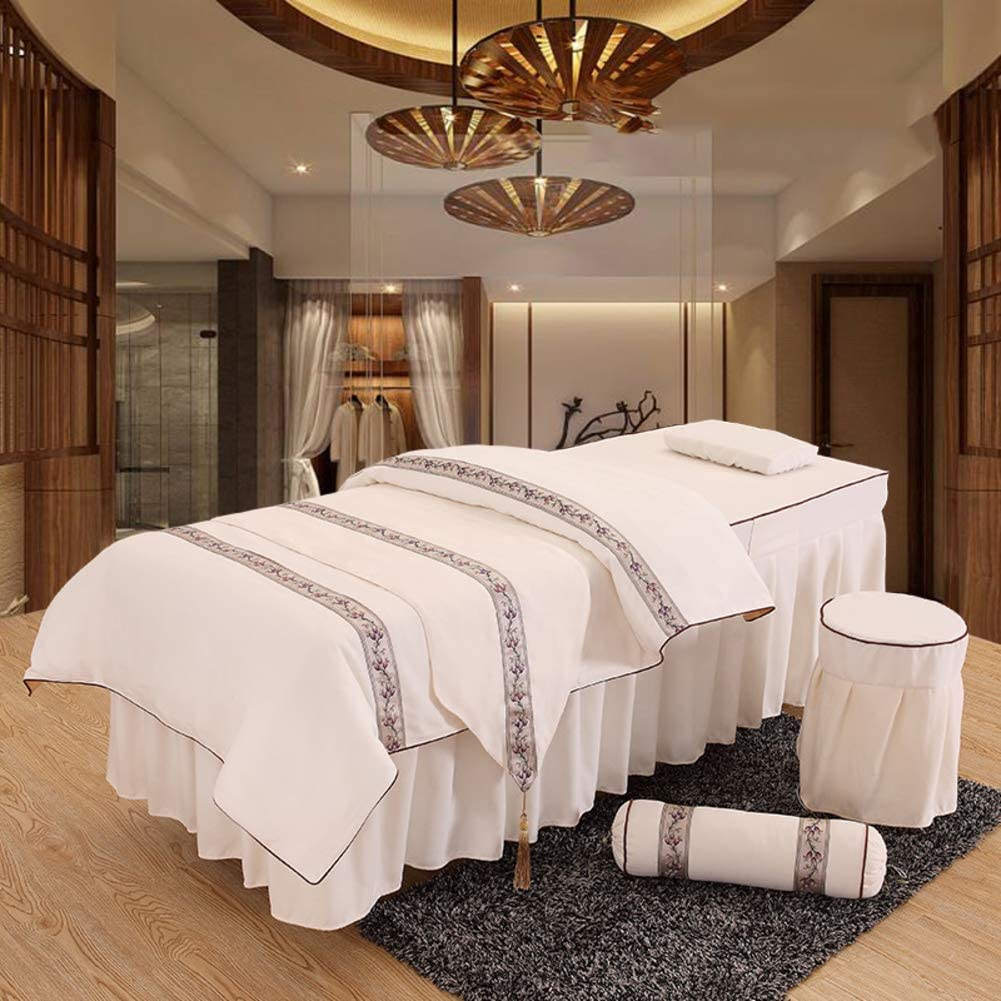 KSWD Embroidery Massage Table Sheet Sets Linen Breathable Beauty Bed Cover Solid Color for Body Fumigation Physiotherapy-70x190cm(28x75inch) G