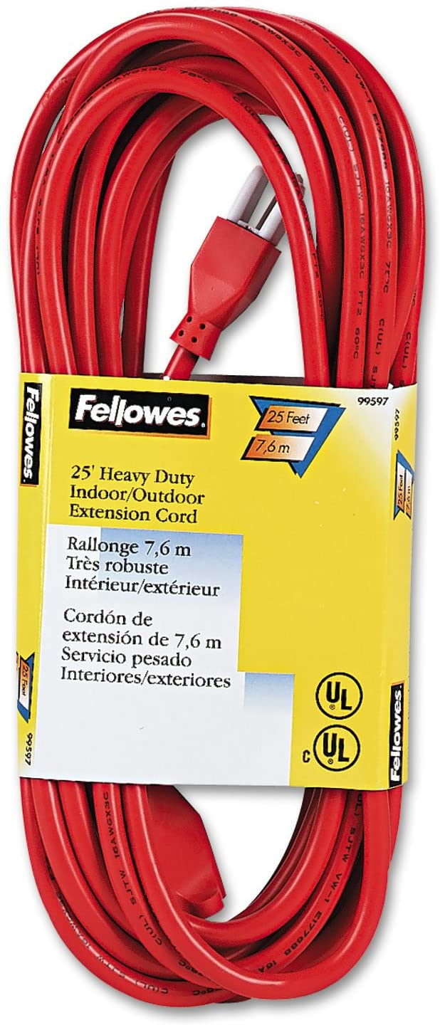 Fellowes 99597 Heavy-Duty Outlet Cord, Indoor/Outdoor, 13 Amp, 25 Ft, OE