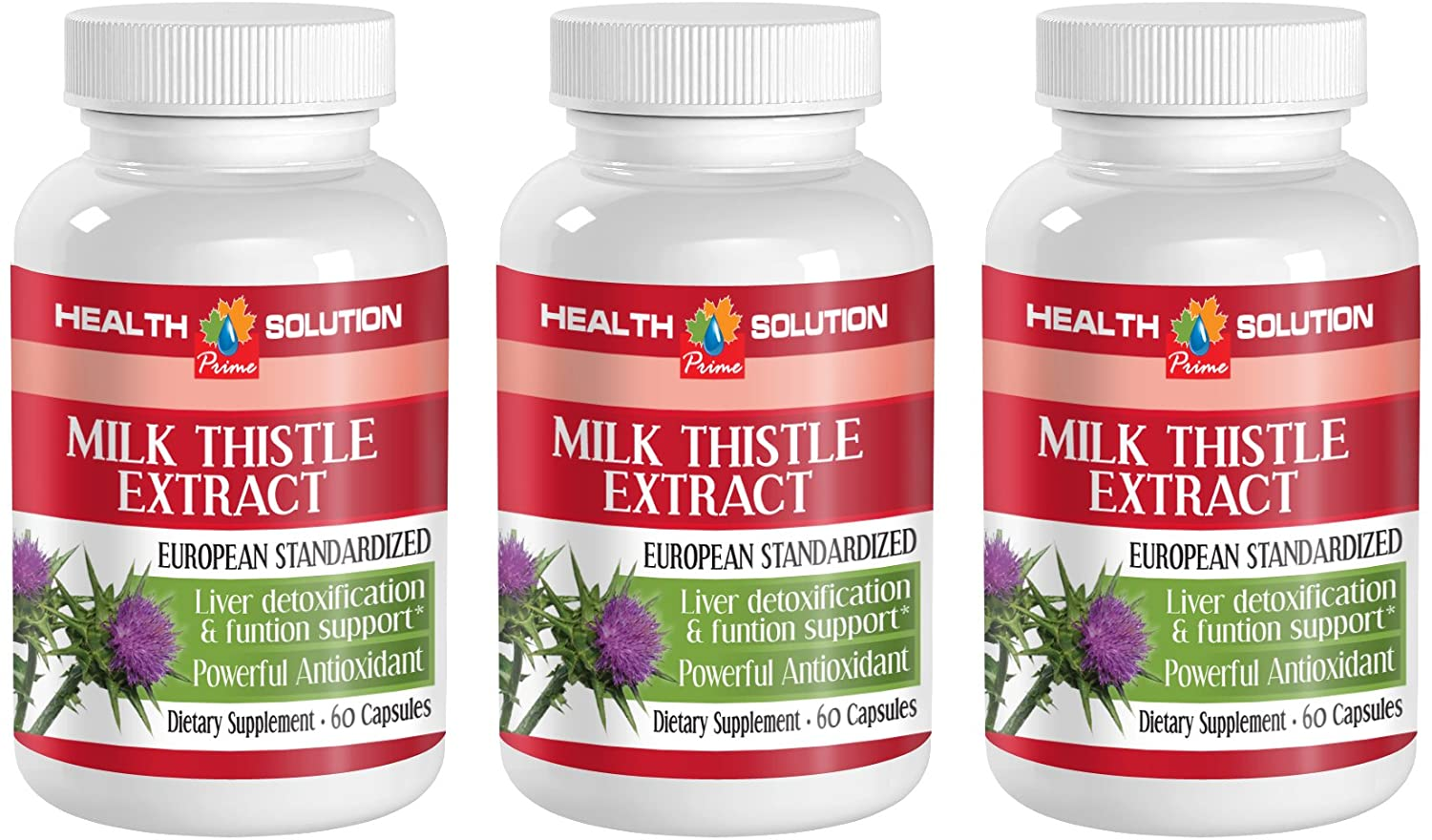 Liver Support Herbal - Milk Thistle - Powerful ANTIOXIDANT - Milk Thistle Whole Seeds - 3 Bottles (180 Capsules)