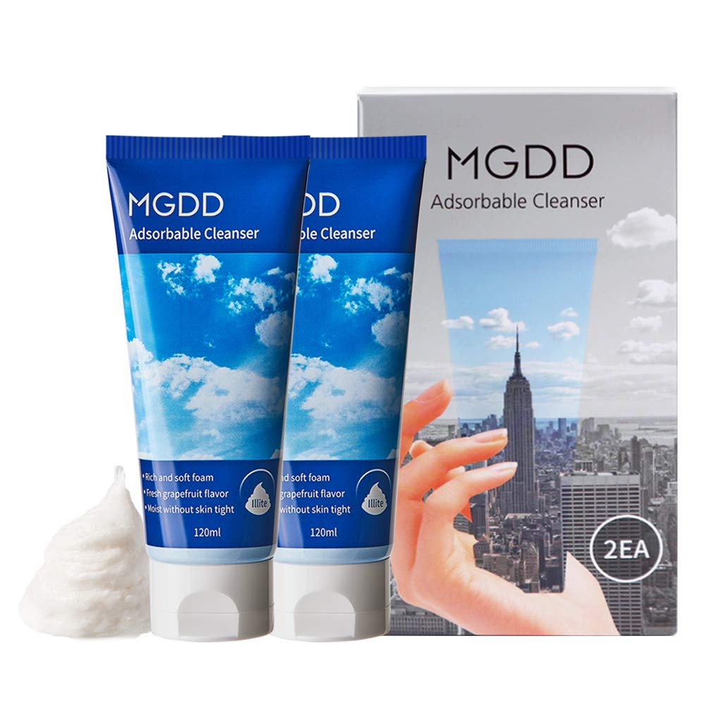 MGDD Adsorbable Cleanser 120ml - Deep Pore Refining Facial Foam, Whip Texture Perfect Makeup & Waste Remover, Soothing Care for Oily & Acne Combination Skin (2 Pack)