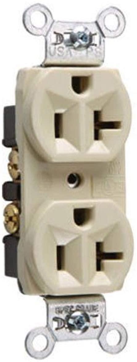 Legrand-Pass & Seymour CRB5362ICC12 20-Amp/125-volt Construction Grade Duplex Receptacle, Ivory
