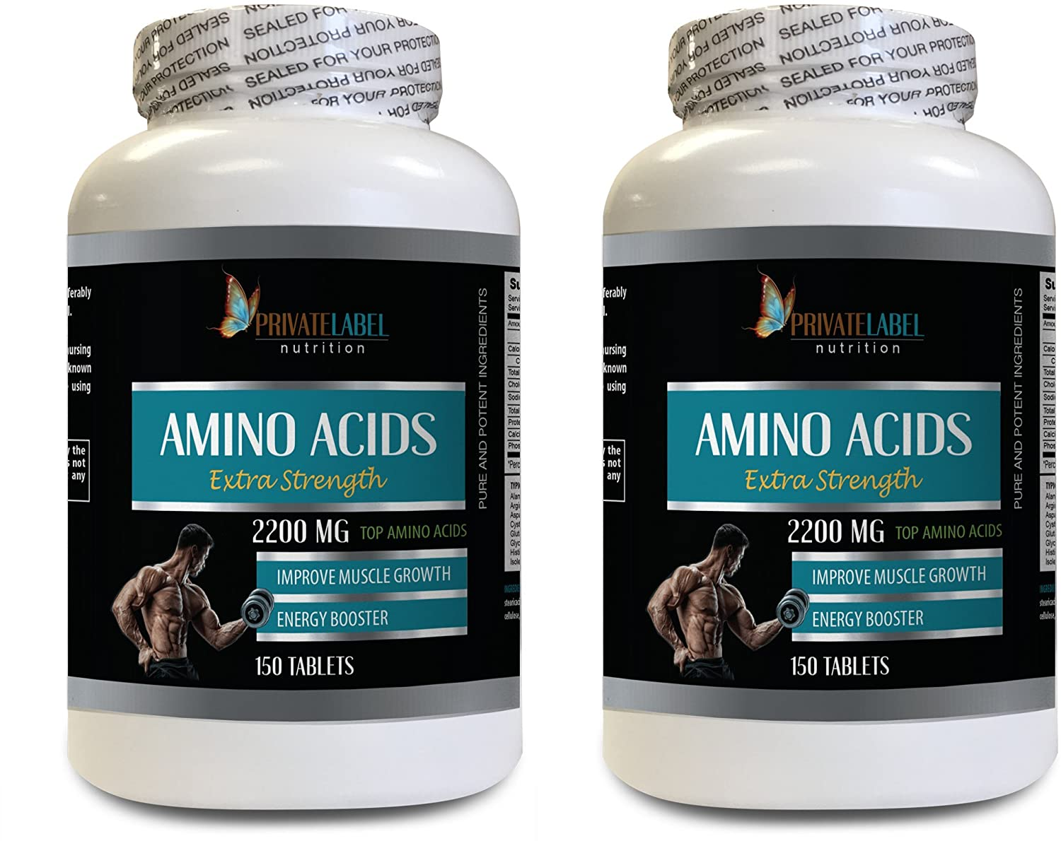 pre Workout Plus Fat Burner - Amino ACIDS Extra Strength 2200MG - Amino acids Muscle Recovery - 2 Bottles 300 Tablets