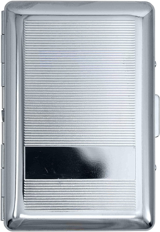 Silver Line Plate Compact (7 100s) Metal-Plated Cigarette Case & Stash Box