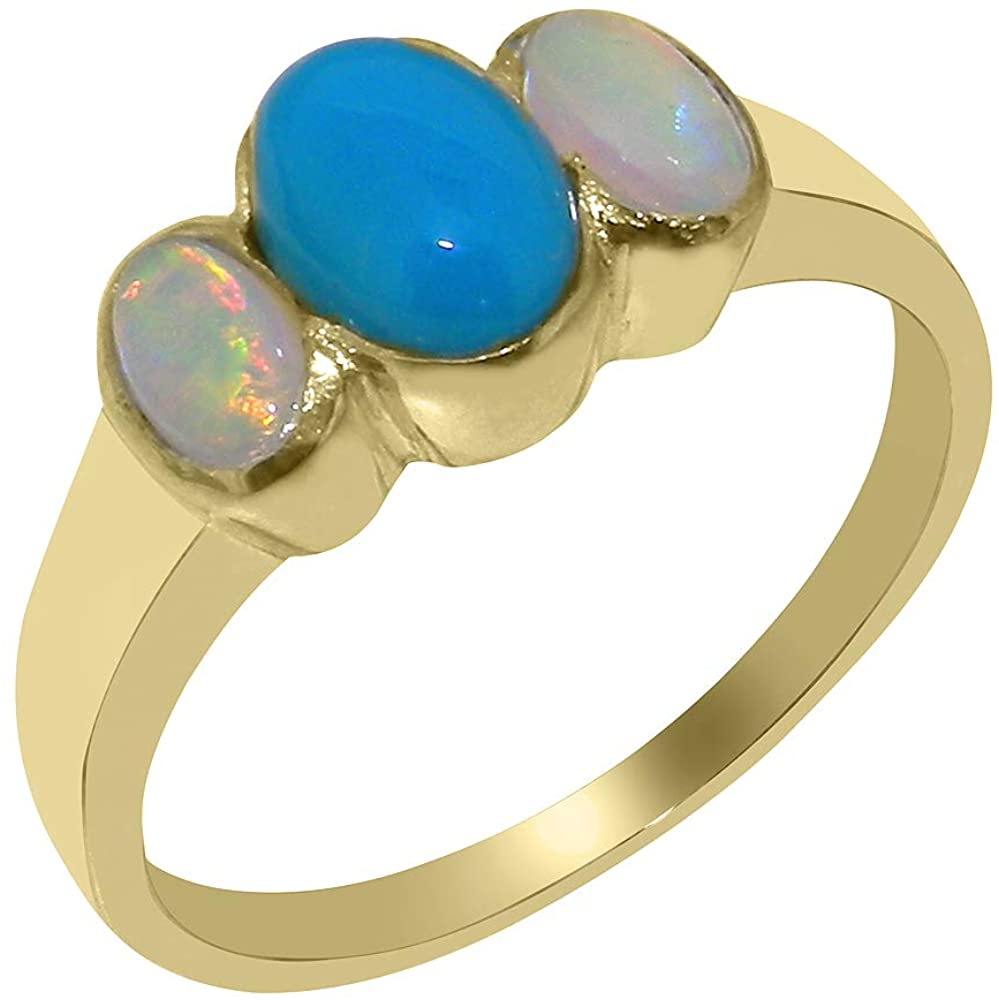 Solid 9k Yellow Gold Natural Turquoise & Opal Womens Trilogy Ring - Sizes 4 to 12 Available