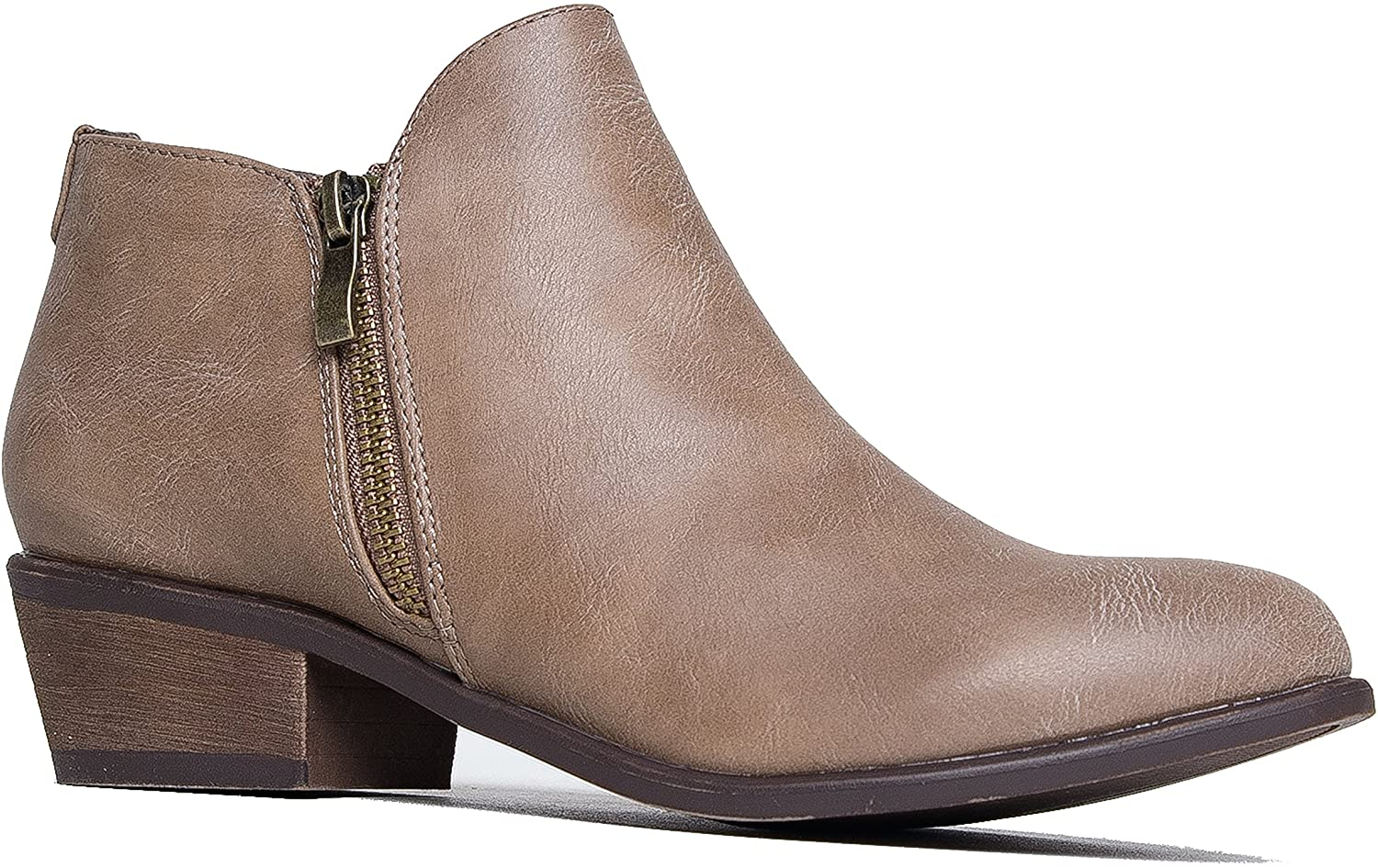 J. Adams Jed Ankle Bootie - Western Low Stacked Heel Pointed Toe Zippered Boot