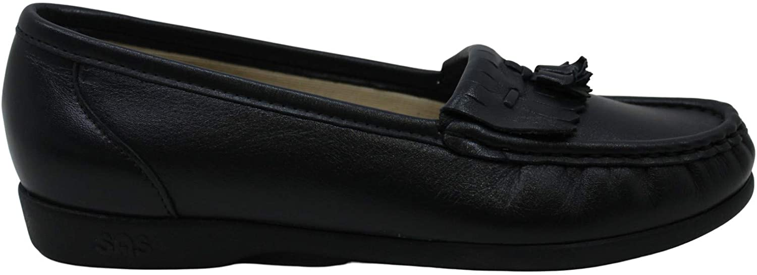 SAS Women's Shoes Softie Leather Round Toe Loafers, Navy, Size 4.5