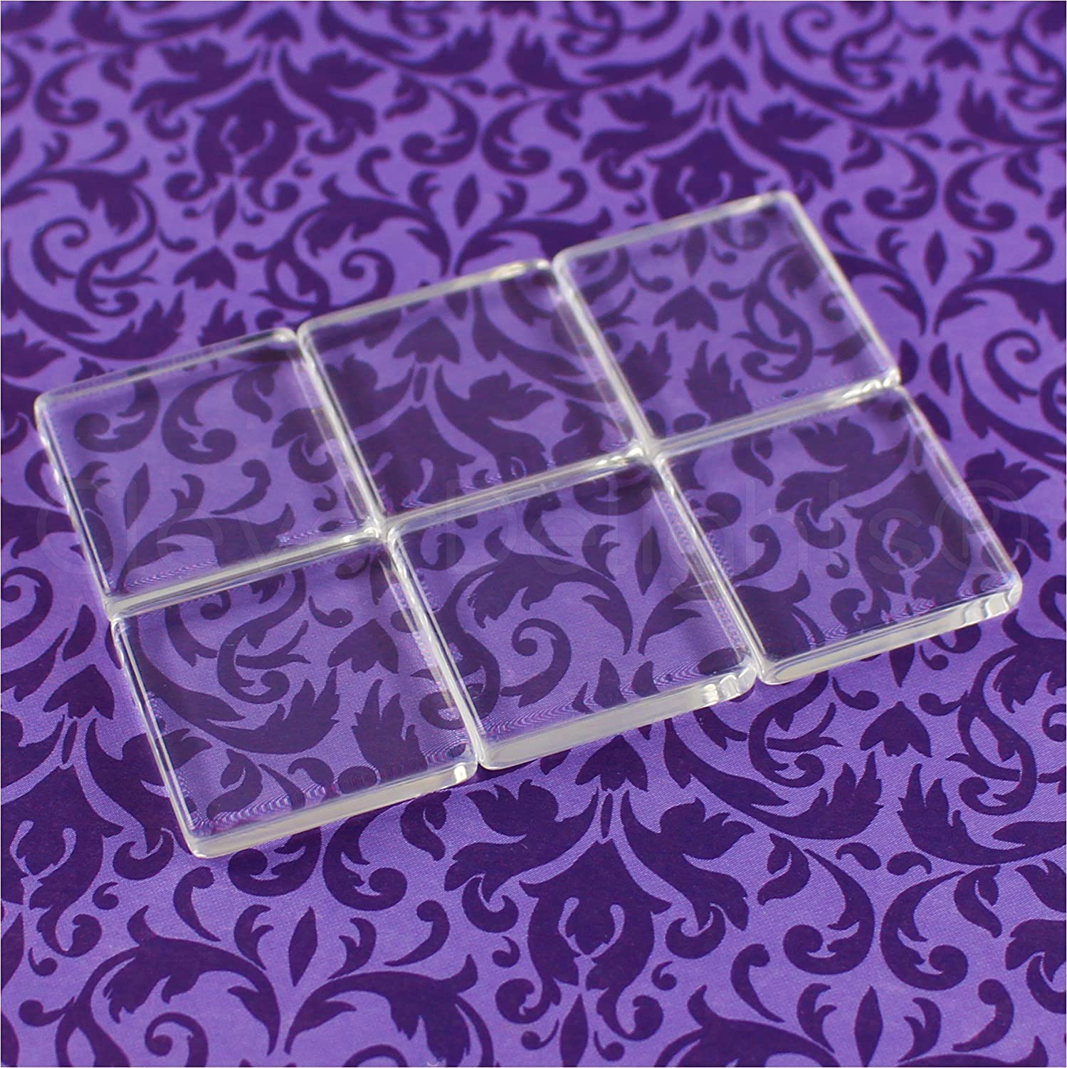 CleverDelights 10 Square Glass Tiles - 1 Inch - Clear Tiles - Glass Cabochons - for Photo Pendants Mosaics Trays - 1 25mm Tiles - 4mm Thick