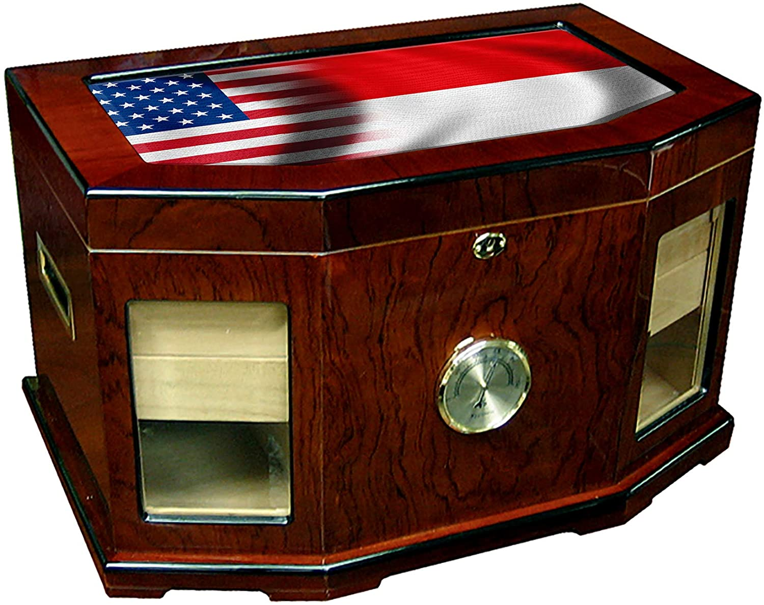 Large Premium Desktop Humidor - Glass Top - Flag of Monaco (Monegasque) - Waves with USA Flag - 300 Cigar Capacity - Cedar Lined with Two humidifiers & Large Front Mounted Hygrometer.
