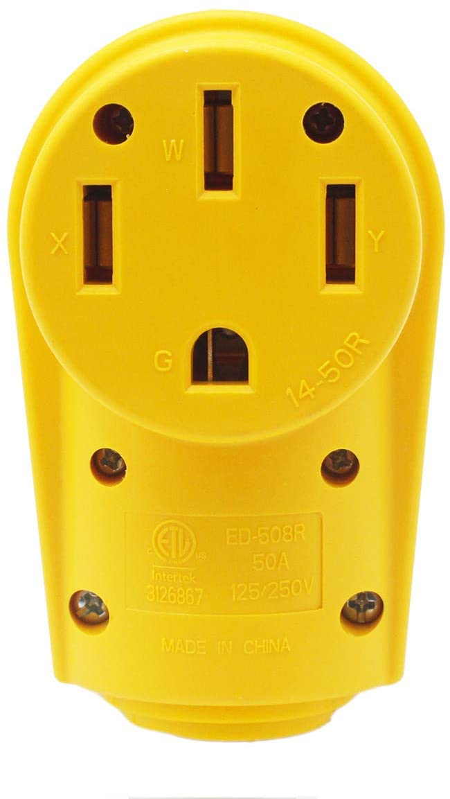 X-Haibei RV 50A Plug Replacement Yellow Female 125V 250V Connector Heavy Duty Handle