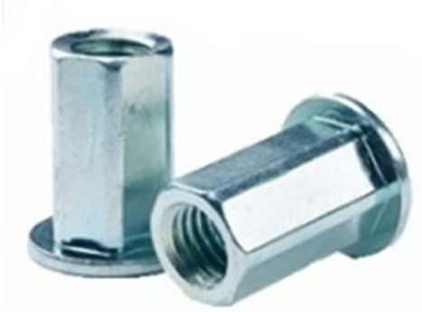 FHL2-3716-177, RIVETNUT, 3/8-16 (.039-.177 GR) Full-Hex Body, LG FLNG HD, Steel, Zinc CLR (100 PK)