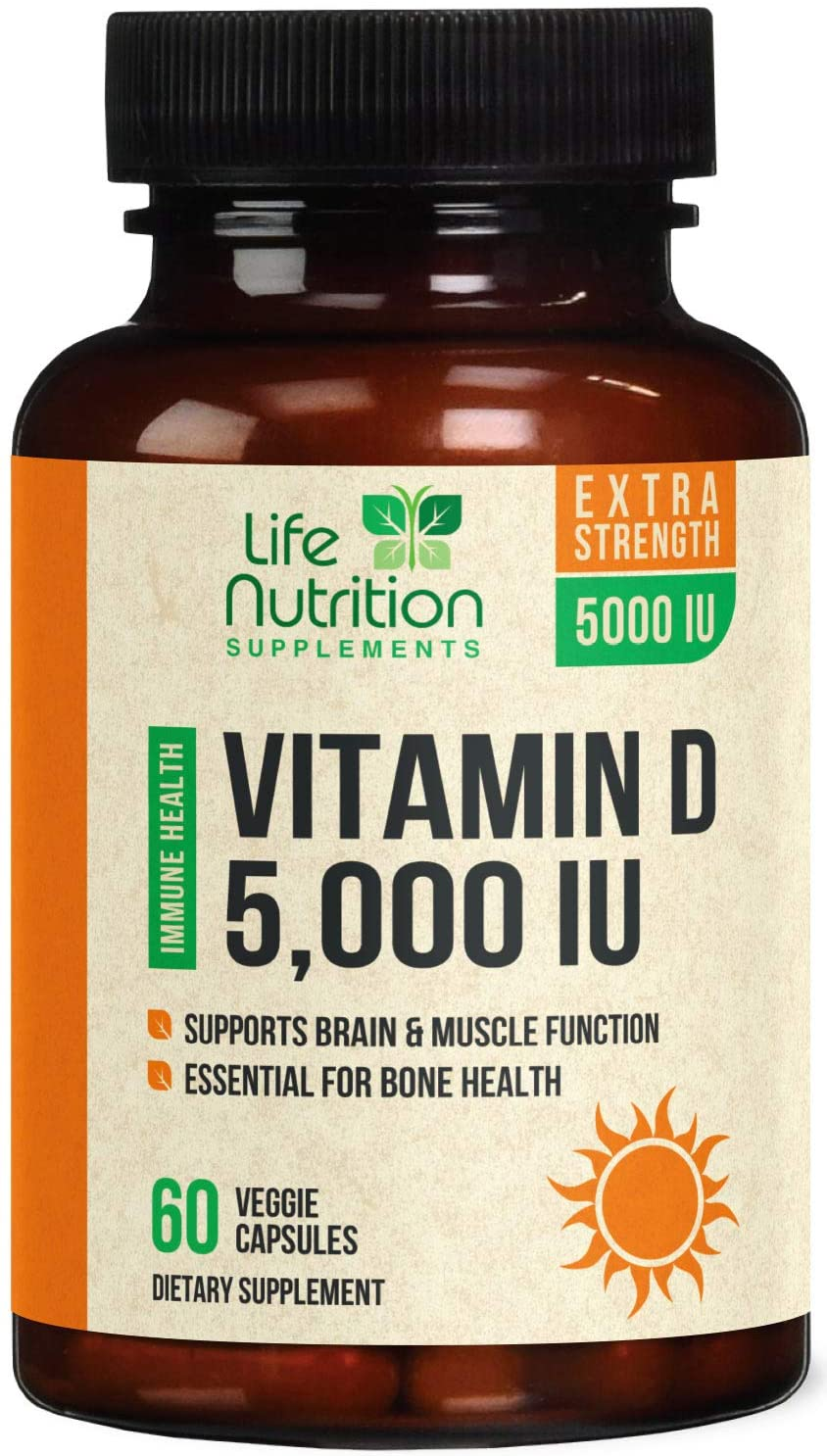 Vitamin D - Extra Strength Vitamin D3 5000 IU / 125mcg, Made in USA, Bone Supplement Pills for Teeth, Heart & Immune Support for Men & Women - Non-GMO - 60 Capsules