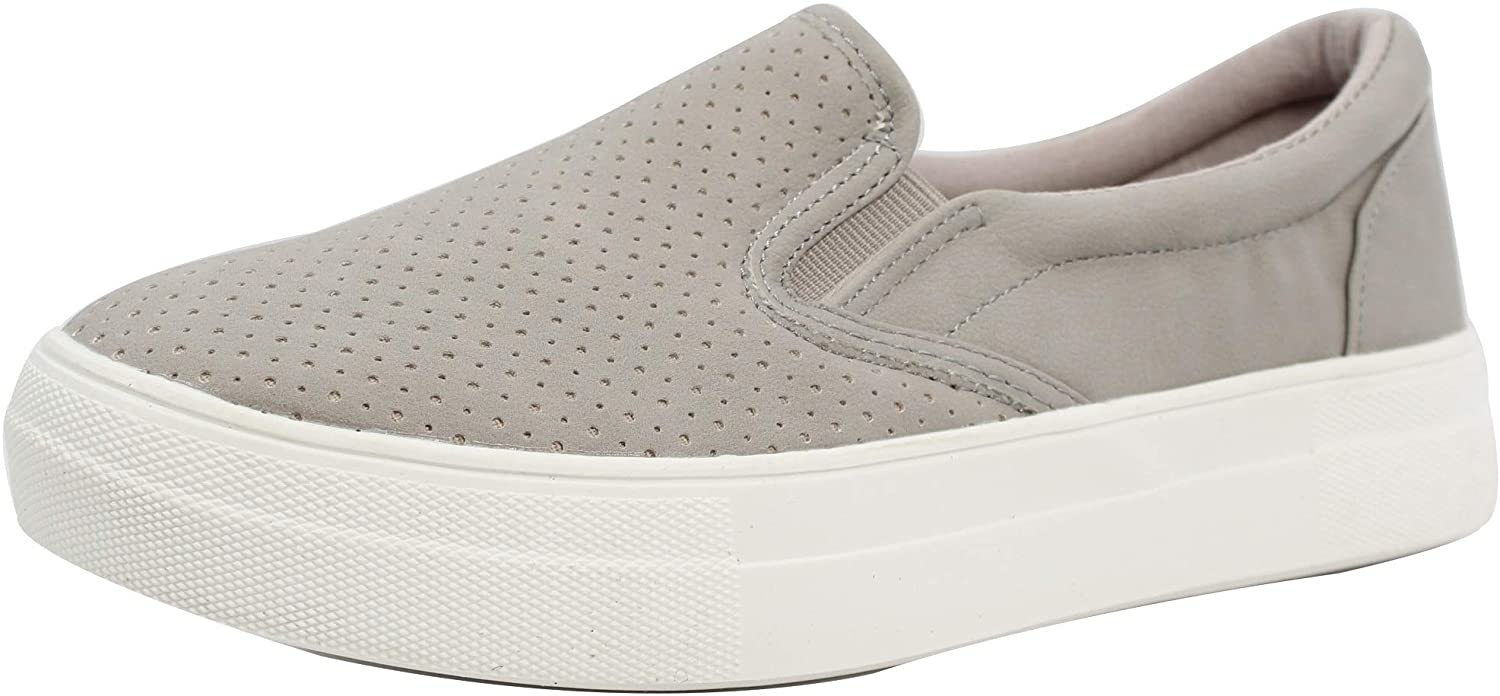 Soda Women's Faux Leather Perforated Elastic Side Slip On Sneaker Shoes