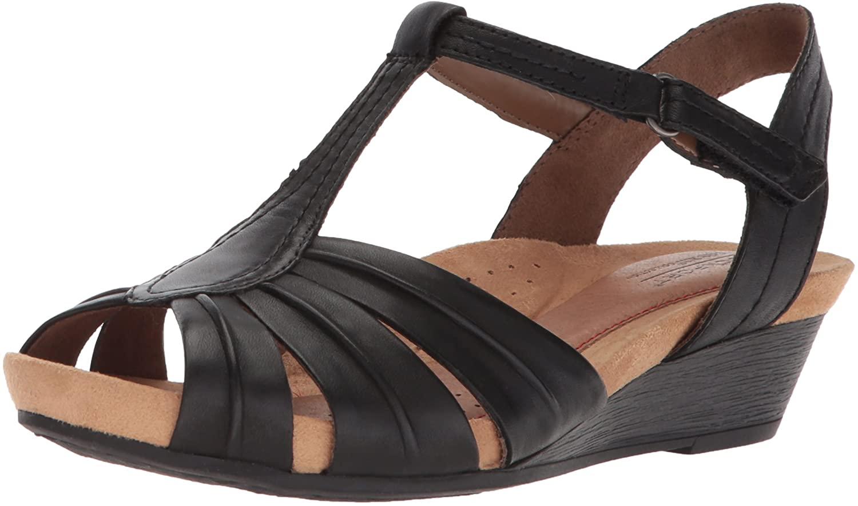 Cobb Hill Women's Hollywood Pleat T Sandal, Black Leather, 8 M US