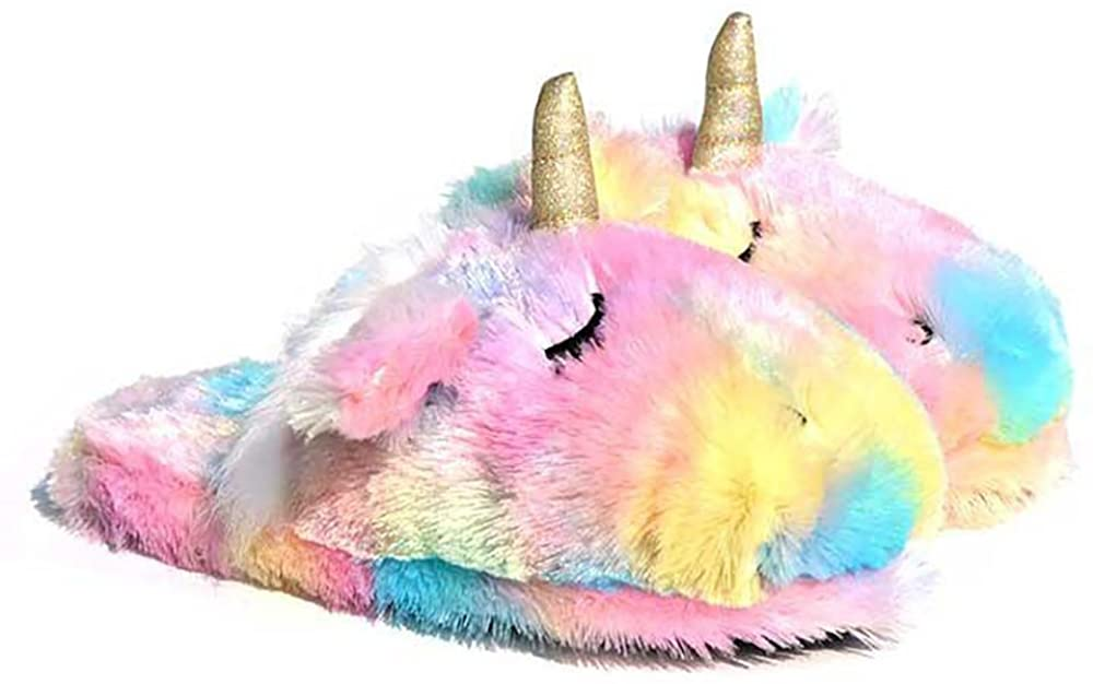 Cute Stuffed Animal Rainbow Unicorn Plush Slippers Indoor Women Lamb Slippers Comfy Home Shoes Stuff Sheep Bedroom Slippers for Adult