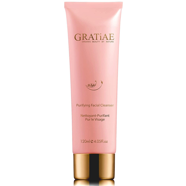 Gratiae Organics Purifying Exfoliating Facial Cleanser, exfoliating face scrub & face wash with witch hazel, jojoba oil, hydrating, non-drying skin care, 4.05Fl