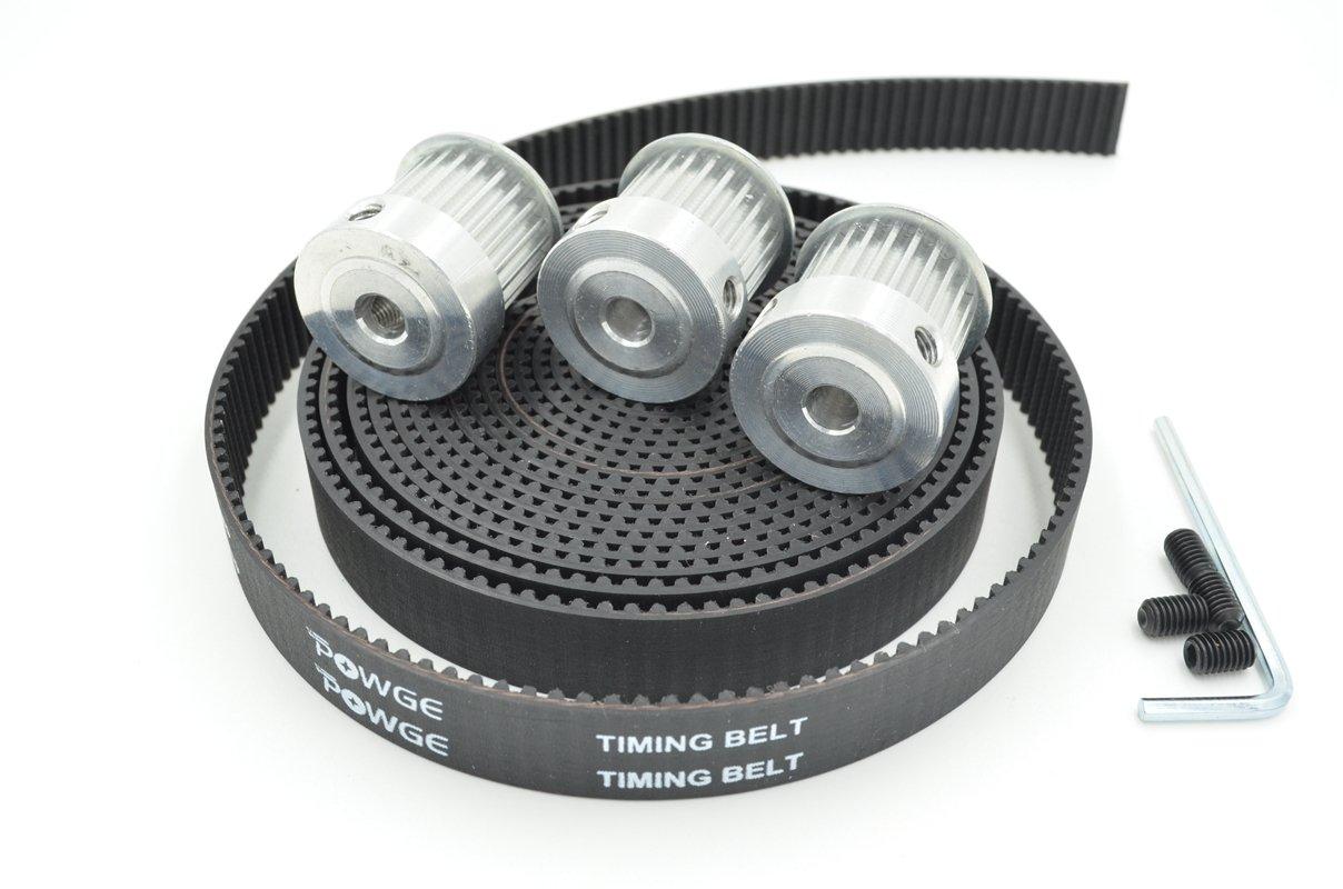 POWGE 3pcs HTD 3M Pulleys 24 Teeth Bore 8mm & 3Meters 3M Timing Belt Width 15mm for CNC Laser Engraving Machines