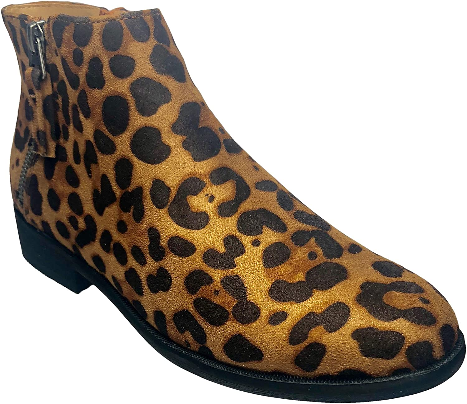 Time and Tru Women Two Zip Ankle Boot in Leopard