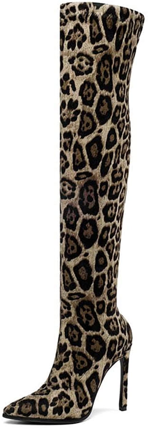 empty 2020 Winter Over The Knee Women Boots Stretch Fabrics High Heel Slip on Shoes Pointed Toe Woman Long Boots Size 34-43 Leopard-Apricot 9