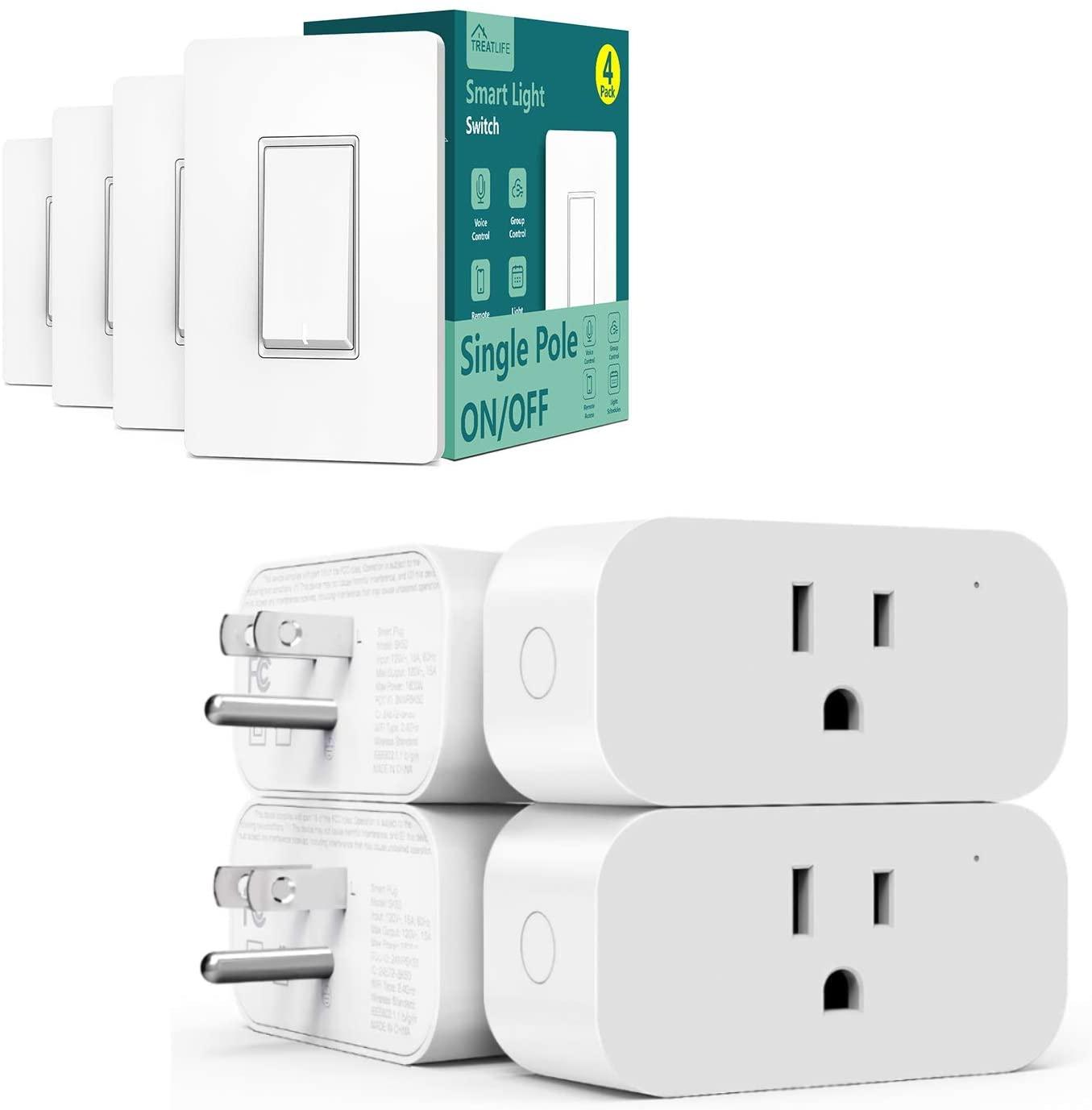 Smart Light Switch 4 Pack+ WiFi Smart Plug 4 Pack Bundles