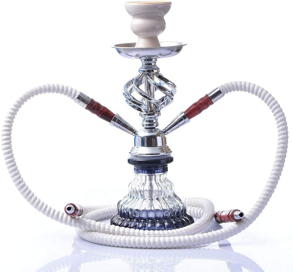 Desert camel Hookah, Double Pipe Hose Hookah, 11.4 Inch Premium Hookah Set with Shisha Accessories, LED Water Pipe, Flexible Tube, Charcoal Bowl, and Mouth Tips