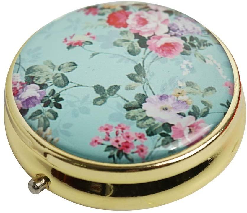 Halulu Vintage Floral Flowers Personalized Design Gold Round Pill Case Decorative Metal Medicine Vitamin Organizer Gift