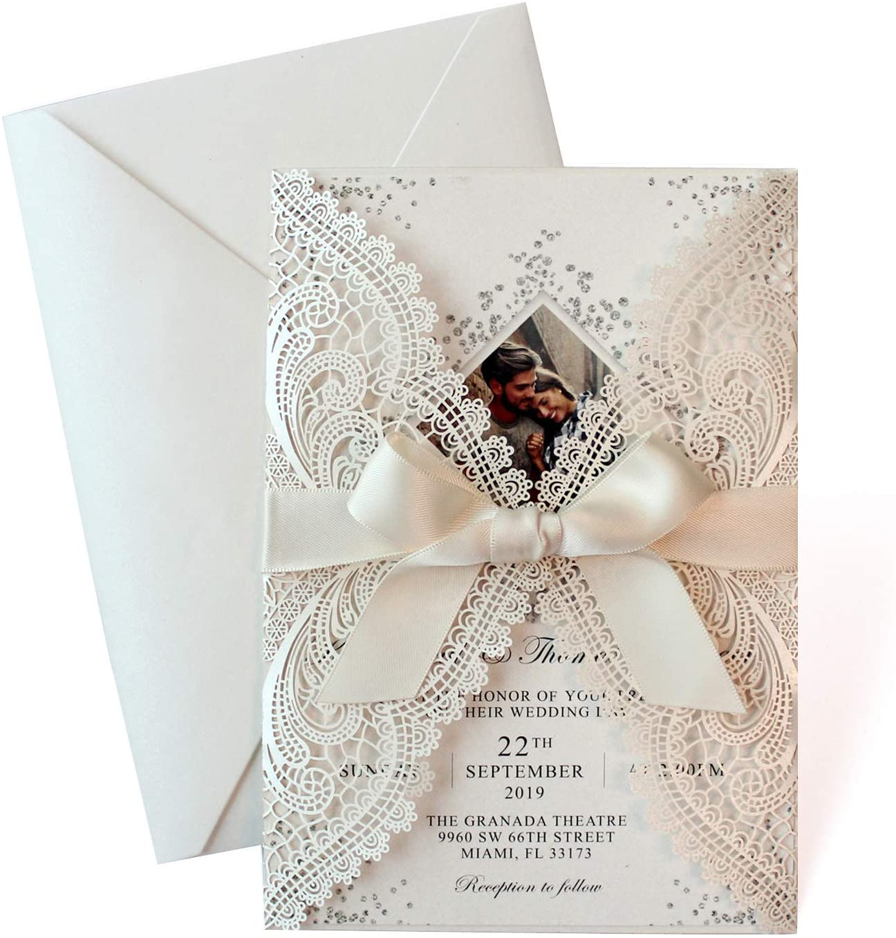 25-Set Laser Cut Wedding Invitations with Ribbon Bow - Photo Invitation Card Template, Elegant Bridal Shower Invites Save The Date, Include Laser Cut Covers, Blank Insert Cards, Ribbons, Envelopes